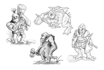 Set of black and white pencil or ink drawings of various fantasy monsters and creatures.