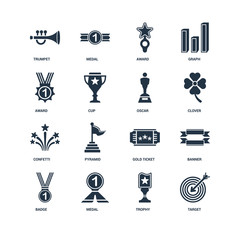 Set Of 16 icons such as Target, Trophy, Medal, Badge, Banner, Tr
