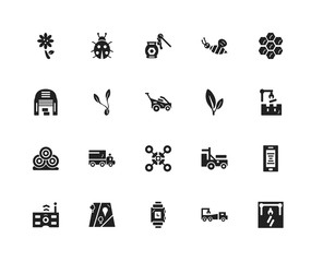 Set Of 20 icons such as Machine, Truck, Smartwatch, Placeholder, Remote control, Honeycomb, Leaf, Drone, Bale, Sprout, Honey, icon pack