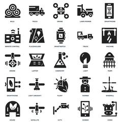 Set Of 25 icons such as Cows, Screen, Cctv, Satellite, house, Machine, Light, Plant, Smartphone, Remote control, Drone, Truck icon