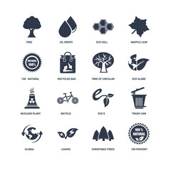 Set Of 16 icons such as 100 percent, Christmas trees, Leaves, Gl