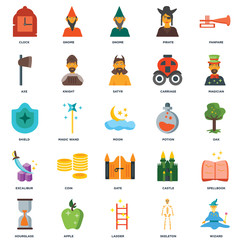 33520ed1 Set Of 25 icons such as Wizard, Skeleton, Ladder, Apple, Hourglass,