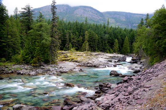 Lakes and creeks in Glacier National Park during summer.