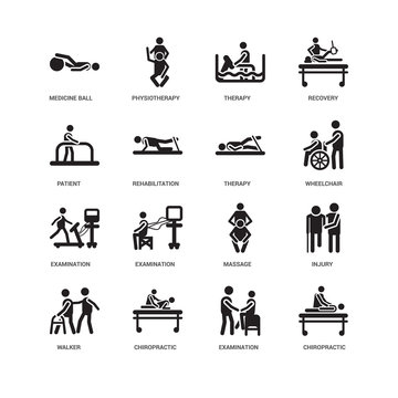Simple Set of 16 Vector Icon. Contains such Icons as Chiropractic, Rehabilitation, Medicine ball, undefined, Injury, Examination, Physiotherapy. Editable Stroke pixel perfect