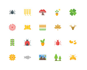 Set Of 20 icons such as Fly, Tree, Landscape, Fish, Flower, Clov