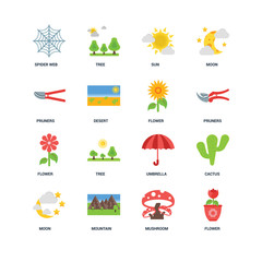 Set Of 16 icons such as Flower, Mushroom, Mountain, Moon, Cactus