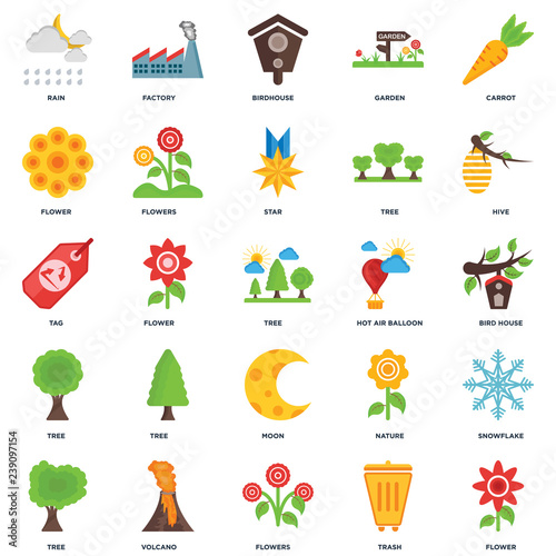 Set Of 25 icons such as Flower, Trash, Flowers, Volcano