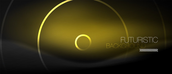 Dark abstract background with glowing neon circles