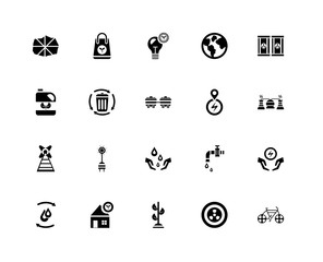 20 icons related to Bicycle, Power plant, Eco fuel, Planet earth, Recycling, bag, Save water, power signs. Vector illustration isolated on white background.