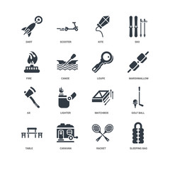 Simple Set of 16 Vector Icon. Contains such Icons as Sleeping bag, Racket, Caravan, Table, Golf ball, Dart, Fire, Ax, Loupe, undefined, undefined. Editable Stroke pixel perfect