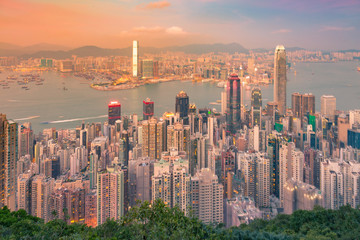 Hong Kong central business downtown aerial view over seacoast aerial view