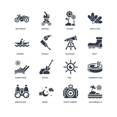 Simple Set of 16 Vector Icon. Contains such Icons as Sun umbrella, Cricket, Motorbike, undefined, Swimming pool, Shovel, Bonfire. Editable Stroke pixel perfect
