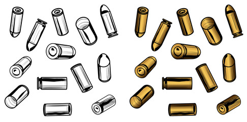 13 Bullets and Spent Casings with Preserved Lines