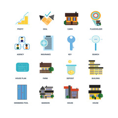 Set Of 16 icons such as House, Mansion, Swimming pool, Building, Profit, Agency, House plan, Key icon