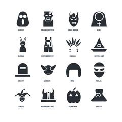 Set Of 16 icons such as Dress, Pumpkin, Viking helmet, Joker, Ninja, Ghost, Bunny, Death, Indian icon