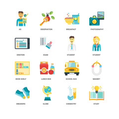Simple Set of 16 Vector Icon. Contains such Icons as Study, Chemistry, Globe, Sneakers, Magnet, As, Einstein, Book shelf, Student, undefined, undefined. Editable Stroke pixel perfect