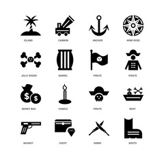 16 icons related to Boots, Sabre, Chest, Musket, Boat, Island, Jolly roger, Money bag, Pirate, undefined, undefined signs. Vector illustration isolated on white background.