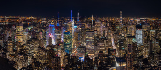 Aerial View of Downtown Manhattan Night Skyline Towards Central Park