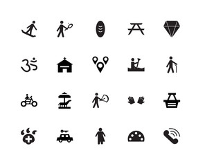 20 icons related to Communication tool, Blind man, Diamond, Picnic Table, Veterinarian Hospital, Tennis Player, Deaf, Om signs. Vector illustration isolated on white background.