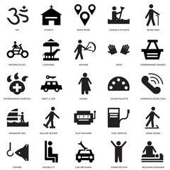 25 icons related to Relaxing Massage, Communication tool, Supermarket Basket, Church, Fishing, Carousel, Fuel service, Veterinarian Hospital signs. Vector illustration isolated on white background.