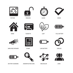Simple Set of 16 Vector Icon. Contains such Icons as User, Cassette, Picture, undefined, Circles, Stamp, Padlock. Editable Stroke pixel perfect