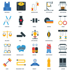Set Of 25 icons such as Locker, Bottle, Weight, Measuring tape, Bars, Rings, Punching ball, Boxing, Chest expander, Exercise, Jumping rope, Scale icon