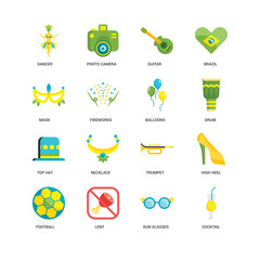 Simple Set of 16 Vector Icon. Contains such Icons as Cocktail, Sun glasses, Lent, Football, High heel, Dancer, Mask, Top hat, Balloons, undefined, undefined. Editable Stroke pixel perfect