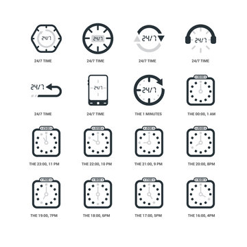 Simple Set of 16 Vector Icon. Contains such Icons as The 16:00, 4pm, 24/7 time, undefined, 20:00, 8pm, 22:00, 10 pm, time. Editable Stroke pixel perfect