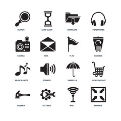 Set Of 16 icons such as Minimize, Wifi, Settings, Hammer, Shoppi