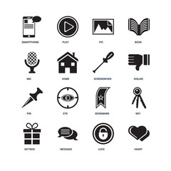 Set Of 16 icons such as Heart, Lock, Message, Giftbox, Key, Smar