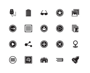 Set Of 20 icons such as Bell, Sort down, House, Mail, Menu, Pict