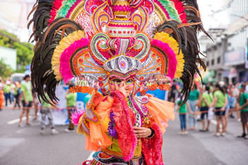 Colorful smiling mask of Masskara Festival, Bacolod City, Philippines