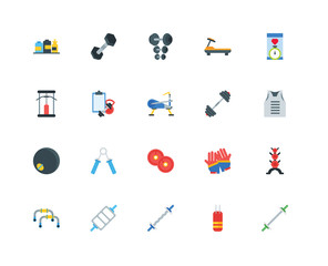 Set Of 20 icons such as Weighted bars, Punching bag, Bar, Triceps bar, Grip, Smartphone, Barbell, Weight plates, Medicine ball, Workout, Dumbbell, icon pack