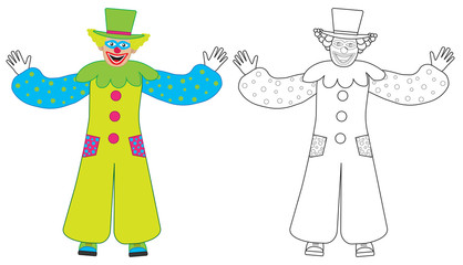 Cheerful clown welcomes, colorful and coloring book. Vector illustration