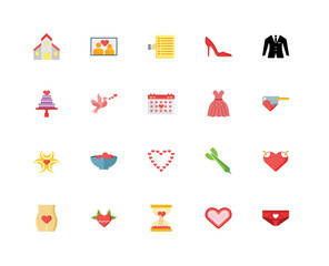 Set Of 20 icons such as Underpants, Heart, Hourglass, Heartbreak