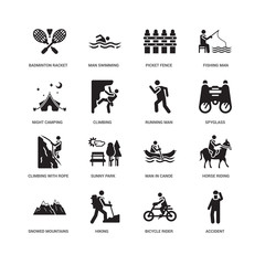 Simple Set of 16 Vector Icon. Contains such Icons as Accident, Climbing, Badminton RAcket and Feather, undefined, Horse riding, Sunny Park, Man swimming. Editable Stroke pixel perfect