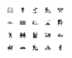 Simple Set of 20 Vector Icon. Contains such Icons as Climbing, Hiking, Snowed mountains, Man swimming, Fishing Man. Editable Stroke pixel perfect