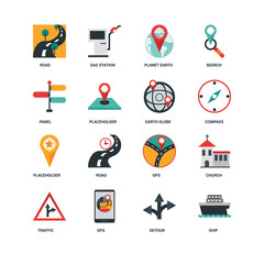 Set Of 16 icons such as Ship, Detour, Gps, Traffic, Church, Road, Panel, Placeholder, Earth globe icon