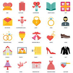 Set Of 25 icons such as Butcher, Wedding dress, day, Dove, Cake, Priest, Heart, Guest, Church, Invitation, Champagne, Suitcase icon