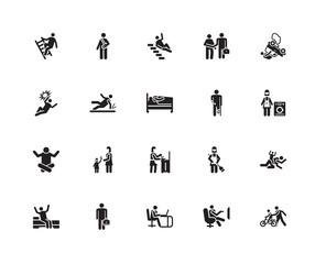 Simple Set of 20 Vector Icon. Contains such Icons as Bike, Relax, Working, Businessman, Wake up, Accident, Cooking, Accident. Editable Stroke pixel perfect
