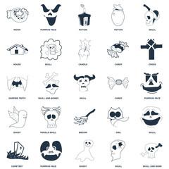 Set Of 25 icons such as Skull and Bone, Skull, Ghost, Pumpkin Face, Cemetery, Cross, Candy, Broom, House, Potion, Face icon