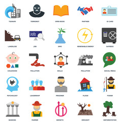 Set Of 25 icons such as Deforestation, Drought, Growth, Farmer, Banking, Safebox, Pollution, Prisoner, Psychology, Landslide, Open book, Terrorist icon