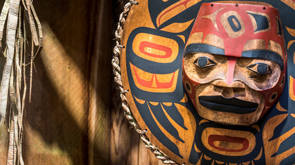 Close up of a painted Indian face.
