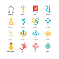 Simple Set of 16 Vector Icon. Contains such Icons as Pisces, Leo, Om, Kumbh kalash, Taurus, Horseshoe, Uranus, Saturn, Esoteric, undefined, undefined. Editable Stroke pixel perfect