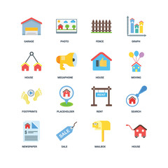 Set Of 16 icons such as House, Mailbox, Sale, Newspaper, Search,