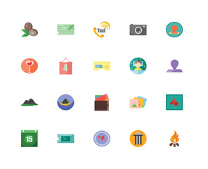 Set Of 20 icons such as Bonfire, Column, Gps, Ticket, Calendar, Map, Bed, Cit card, Mountain, Schedule, Taxi, icon pack