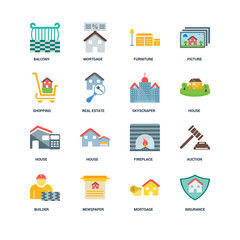 Set Of 16 icons such as Insurance, Mortgage, Newspaper, Builder,