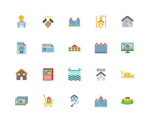 Set Of 20 icons such as House, Skyscraper, Real estate, Shopping