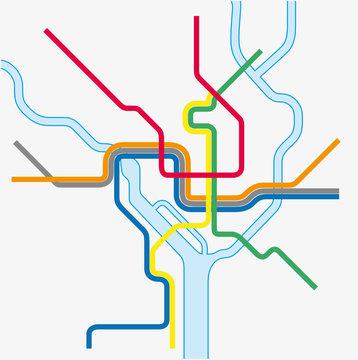 Metro map of Washington DC, United states