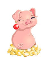 Lovely cheerful pink pig sitting on mountain of gold coins. New year pig with red christmas ball in its ear isolated on white background. Colorfull smiling and winking pig, vector cartoon illustration